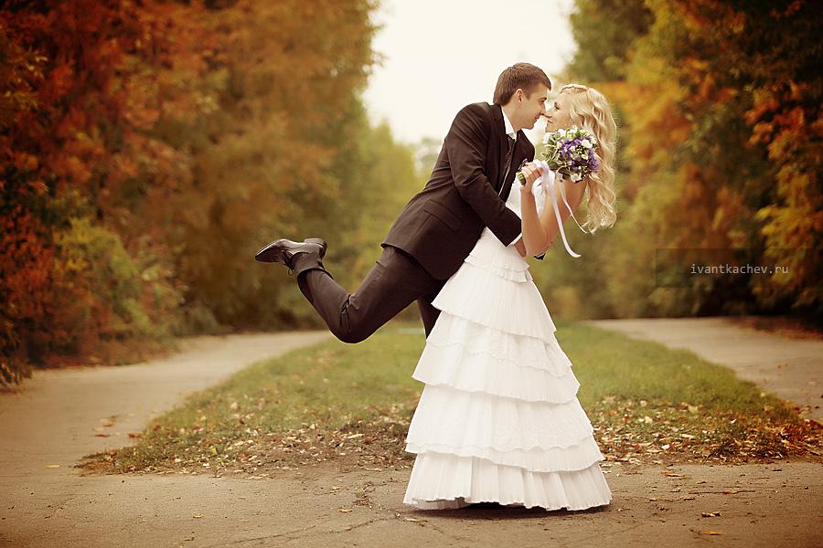 свадебное фото осень